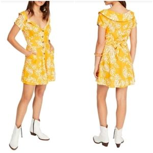Free People Sunflower Combo Linen Dress NWT